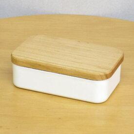 野田琺瑯 バターケースバターケース 200g用ホワイト(白) においしない保存容器、冷却性の高いホーローと、バターとも相性が良い天然木(サクラ)蓋との組み合わせがかわいい プレゼント(ギフト)に 日本製