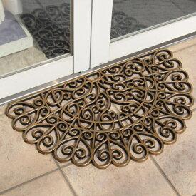 玄関マット 屋外 おしゃれ ラバー 泥落とし 75×45(半円形) ベルコック 『ヴィンテージハーフムーン ゴールド』