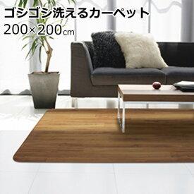 ラグマット 200×200cm(正方形) 木目調 滑り止め/防水/洗える クリーンロボ(キレット)