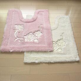トイレマット エレガントな薔薇柄 プレシャスローズ 日本製 ふかふか ホワイト(白)/ピンク 高級トイレマット