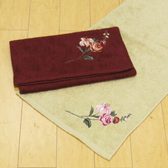 "Towel approximately 33 x 80 cm HANAE MORI and Hanae Mori brand ""Botanical Flower, beige / Burgundy (red) Roses (rose) to 内 祝 I and a fashionable towel toilet pattern expressed in embroidery like Hanae Mori Butterfly hand towel gift made in Japan, co"