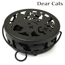 【蚊取り線香入れ】【蚊取り線香ホルダー 】 蚊遣り Dear Cats ディアキャッツ 丸型フタ付き【蚊遣り器】【ねこ】【ギフト】【猫】【夏】【シルエット】【かわいい】【プレゼント】