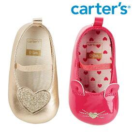【SALE】Carter's カーターズ ベビー ストラップ バレー シューズ シャンパンゴールド ハート ピンク にゃんこ ファーストシューズ 靴 ベビー/キッズ/子供用 女の子メール便可 セール【再入荷なし/現品限り】