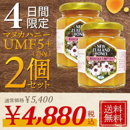 マヌカハニー UMF 5+ 250g (MGO 83〜262相当) 【2個セット】 非加熱 の 100%純粋 生マヌカ はちみつ ハチミツ 蜂蜜【お中元】