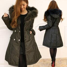 【アウトレット】 ダウンコート 冬 ラクーン ファー 付き ダブルボタン ダウンコート コート ロングコート S M L LL XL レディース