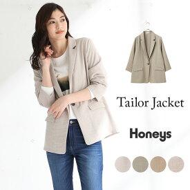 アウター ジャケット レディース テーラー アースカラー 8分袖 ゆったり 春 春新作 Honeys ハニーズ テーラージャケット