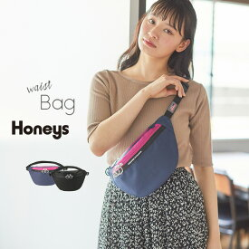 バッグ ウエストバッグ レディース メンズ ボディバッグ ウエストポーチ 黒 シンプル ブランド 雑誌掲載 Popteen Honeys ハニーズ ウエストBag