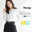 トップス レディース ブラウス きれいめ オフィス 長袖 UVカット シワになりにくい 秋 秋新作 Honeys ハニーズ 金釦使…