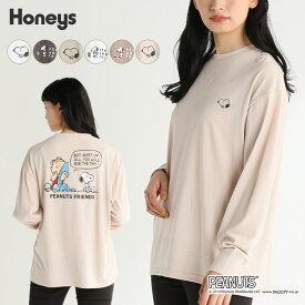 スヌーピー Tシャツ ロンT レディース おしゃれ 長袖 バックプリント 秋 冬 Honeys ハニーズ スヌーピーTシャツ