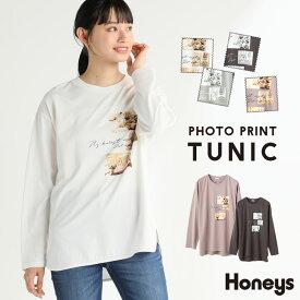 チュニック レディース 長袖 大人可愛い プリントTシャツ 写真 綿100% 秋 冬 Honeys ハニーズ フォトプリントチュニック