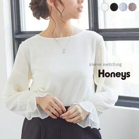 トップス プルオーバー レディース きれいめ 長袖 プリーツ 異素材 オフィス 秋 Honeys ハニーズ 袖異素材プルオーバー