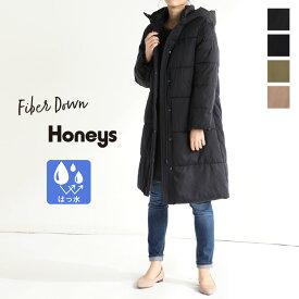コート ジャケット レディース ロング ダウン風 通勤 カジュアル フード 撥水 冬 SALE セール Honeys ハニーズ ファイバーダウンコート