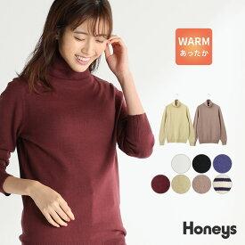 トップス タートルネック ニット レディース 暖 長袖 オフィス 洗える 秋 冬 Honeys ハニーズ あったかタートルネック