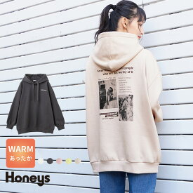 パーカー レディース おしゃれ 大きめ 裏起毛 ハニぽか あったか 韓国 冬 春 雑誌掲載 Popteen Honeys ハニーズ フォトプリントパーカー