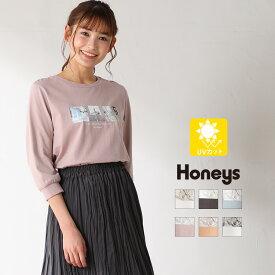 トップス Tシャツ 7分袖 フォトプリント オーガニックコットン 綿 シンプル レディース 春 Honeys ハニーズ 7分袖フォトプリントT