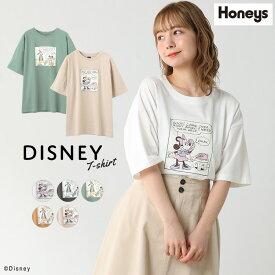 トップス Tシャツ 5分袖 プリント ディズニー ミッキー ミニー 部屋着 レディース 春 夏 Honeys ハニーズ Tシャツ(ディズニー)