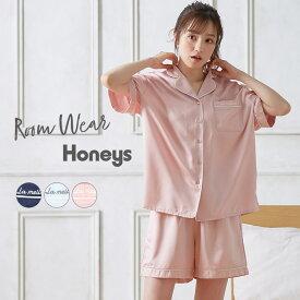 ルームウェア セットアイテム シャツ ショートパンツ 半袖 ロゴ レディース 夏 Honeys ハニーズ 前開きルームウェア(上下セット)