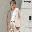 ジャケット テーラード セットアップ 麻調 8分袖 無地 通勤 オフィス レディース 春 夏 SALE セール Honeys ハニーズ …