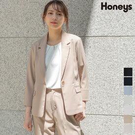 ジャケット テーラード セットアップ 麻調 8分袖 無地 通勤 オフィス レディース 春 夏 Honeys ハニーズ テーラージャケット
