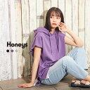 トップス パーカー 半袖 レイヤード風 スウェット バックロゴ ストリート レディース 夏 Honeys ハニーズ 裾レイヤー…