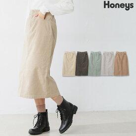 スカート タイトスカート コーデュロイ 綿 無地 ベンツ おしゃれ レディース 秋 冬 Honeys ハニーズ コーデュロイスカート