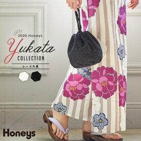 バッグ かばん レディース 巾着 布 浴衣 和小物 和雑貨 和装 着物 花柄 フェミニン 夏 夏新作 Honeys ハニーズ レース巾着