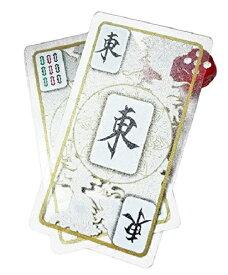 高級感のある 透明 麻雀 牌 カード 静かに どこでもできる ポータブル おしゃれ で 本場 なトランプ サイズ 麻雀 牌 サイコロ チップ 付き (透明タイプ)