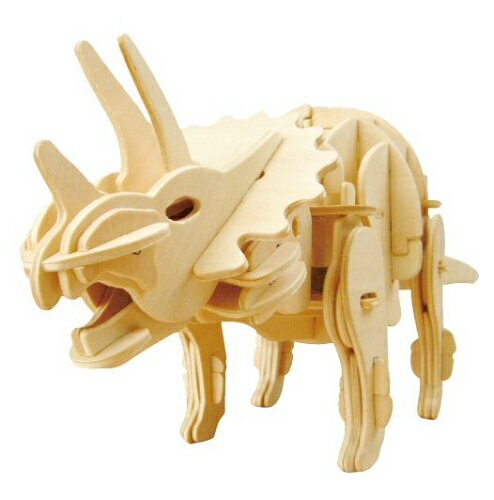 動く木製3Dパズルキット D430トリケラトプス