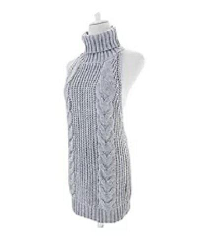 大人気! 童貞を殺すセーター 肌見せ レディース カットソー ワンピース タートルネック バックレス 編み物 ニット(グレー)
