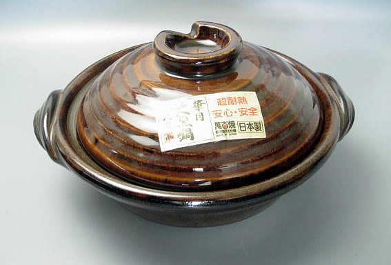 日本製 アメ釉 土鍋6号 1人用【万古焼】