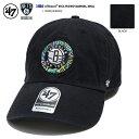 47BRAND フォーティーセブンブランド 帽子 キャップ ローキャップ ボールキャップ CAP メンズ レディース 黒 ブルックリン ネッツ NBA 公式 バスケットボール Ron English