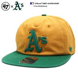 フォーティーセブンブランド 47BRAND 帽子 スナップバック CAP メンズ レディース 黄色緑 b系 ヒップホップ ストリート系 ファッション オークランド アスレチックス 76年 限定 復刻 バイカラー かっこいい おしゃれ MLB 大リーグ メジャーリーグ アメカジ BBT-GLFRD18GWP