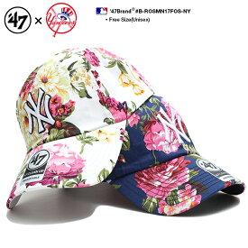 フォーティーセブンブランド 47BRAND 帽子 ローキャップ ボールキャップ CAP メンズ レディース 白 紺 b系 ヒップホップ ストリート系 ファッション ニューヨーク ヤンキース 薔薇 花柄 総柄 刺繍 かっこいい おしゃれ MLB 大リーグ メジャーリーグ B-ROSMN17FOS-NY