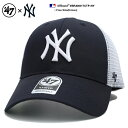 47BRAND ニューヨーク ヤンキース フォーティーセブンブランド 帽子 キャップ メッシュキャップ CAP メンズ レディース 紺白 男女兼用 b系 ヒップホップ ストリート系 ファッション ブラ