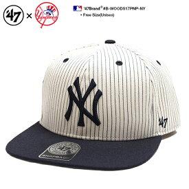 b系 ヒップホップ ストリート系 ファッション メンズ レディース キャップ 【B-WOODS17PNP-NY】 フォーティーセブンブランド 47BRAND ニューヨーク ヤンキース 帽子 コラボ CAP MLB メジャーリーグ NYロゴ 刺繍 USAモデル ピンストライプ オフホワイト 正規品 ギフト