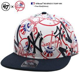 b系 ヒップホップ ストリート系 ファッション メンズ レディース キャップ スナップバック 【B-BRVDC17GWP-WH】 フォーティーセブンブランド 47BRAND ニューヨーク ヤンキース 帽子 CAP MLB メジャーリーグ 刺繍 USAモデル 白 総柄 バイカラー 正規品 ギフト