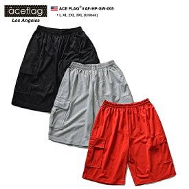 ACEFLAG エースフラッグ ハーフパンツ メンズ レディース 【AF-HP-SW-005】ショーツ ショートパンツ スウェット カーゴパンツ 無地 シンプル 綿 S M L XL 2XL 3XL 大きいサイズ 黒 グレー 赤 b系 ヒップホップ ストリート系 ファッション 服 かっこいい おしゃれ ギフト