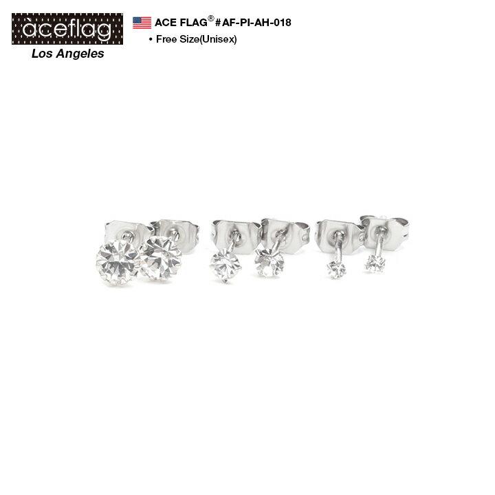 b系 ヒップホップ ストリート系 ファッション メンズ レディース ピアス 【AF-PI-AH-018】 エースフラッグ ACEFLAG ピアス イヤリング 2個ペア 1セット 一粒ダイヤカットラインストーン クリアー ダイヤモンドカット 定番 ホール式 大きいサイズ 正規品 ギフト