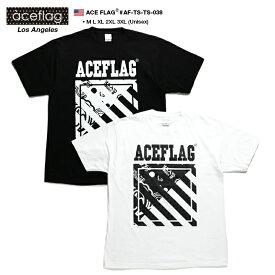 エースフラッグ ACEFLAG Tシャツ 半袖 メンズ レディース 黒 白 M L XL 2L LL 2XL 3L XXL 3XL 4L XXXL 大きいサイズ b系 ヒップホップ ストリート系 ファッション ブランド おしゃれ ペイズリー柄 バンダナ アシンメトリー ライン ビッグシルエット ダンス衣装 AF-TS-TS-038