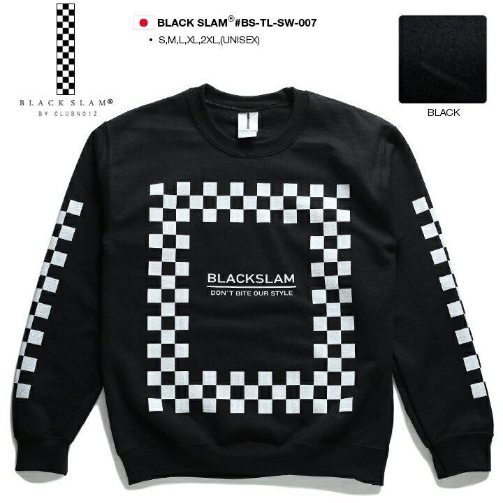 【送料無料】b系 ヒップホップ ストリート系 ファッション メンズ レディース スウェット 長袖 トレーナー 【BS-TL-SW-007】 ブラックスラム BLACK SLAM 裏起毛 袖プリント チェッカーフラッグ レース ボックスロゴ XL 2L LL 2XL 3L XXL 大きいサイズ 正規品 【楽ギフ_包装】