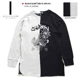 クラブノイズ ブラックスラム CLUBNO1Z BLACK SLAM ロング丈スウェット トレーナー 長袖 メンズ レディース 黒白 S M L XL 2L LL 大きいサイズ b系 ヒップホップ ストリート系 ファッション ブランド 服 かっこいい おしゃれ フリース バイカラー ダンス衣装 BS-TL-SW-015