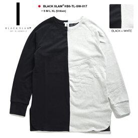 クラブノイズ ブラックスラム CLUBNO1Z BLACK SLAM スウェット ロング丈 トレーナー フリース 長袖 メンズ レディース 黒白 S M L XL 2L LL 大きいサイズ おしゃれ バイカラー ラグランスリーブ ビッグシルエット b系 ストリート系 ファッション ブランド BS-TL-SW-017