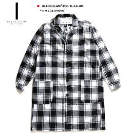 ロング丈 長袖シャツ 【BS-TL-LS-001】 ブラックスラム BLACK SLAM クラブノイズ チェックシャツ コート 白黒チェック柄 ビックシルエット オーバーサイズ b系 ヒップホップ ストリート系 ファッション 服 メンズ レディース L XL 2L LL 大きいサイズ ギフト
