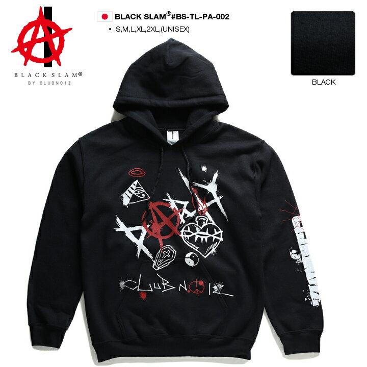 【送料無料】b系 ヒップホップ ストリート系 ファッション 服 メンズ レディース フードパーカー 長袖 【BS-TL-PA-002】 ブラックスラム BLACK SLAM 裏起毛 袖プリント anarchy アナーキー ロゴ クロス ステンシル XL 2L LL 2XL 3L XXL 大きいサイズ 正規品 【楽ギフ_包装】