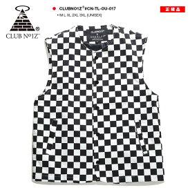 クラブノイズ CLUB NO1Z チェッカーフラッグ ツイル ジレベスト ジャケット アウター メンズ レディース 白黒 M L XL 2L LL 2XL 3L XXL 3XL 4L XXXL 大きいサイズ かっこいい おしゃれ 総柄 ダンス衣装 b系 ヒップホップ ストリート系 ファッション ブランド CN-TL-OU-017