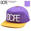 ドープ DOPE キャップ 【13DP-SS080】 CAP スナップバック メンズ レディース 定番 ロゴ 刺繍 紫 黄色 バイカラー Fサイズ 男女兼用 正規品 b系 ヒップホップ ストリート系
