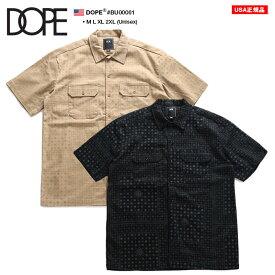 ドープ DOPE 半袖シャツ ワークシャツ 総柄 メンズ カーキ 黒 M L XL 2L LL 2XL 3L XXL 大きいサイズ b系 ヒップホップ ストリート系 ファッション ブランド 服 かっこいい おしゃれ ペイズリー バンダナ 柄 モノグラム ロゴ ビッグシルエット BU00001