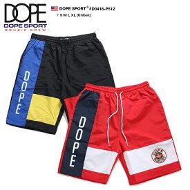 ドープ スポーツ DOPESPORT ハーフパンツ シャカパン ナイロン ショートパンツ ショーツ 半ズボン イージーパンツ メンズ レディース 黒 赤 S L XL 2L LL 大きいサイズ b系 ヒップホップ ストリート系 ファッション ブランド 服 かっこいい おしゃれ ワッペン D0418-P512