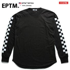 エピトミ EPTM ロンT ロングスリーブTシャツ 長袖 メンズ レディース 春秋冬用 黒 S M L 大きいサイズ b系 ヒップホップ ストリート系 ファッション ブランド 服 かっこいい おしゃれ 袖ロゴ 袖プリント チェッカーフラッグ ブロックチェック EP7934