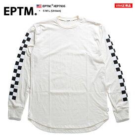 エピトミ EPTM ロンT ロングスリーブTシャツ 長袖 メンズ レディース 白 S M L 大きいサイズ b系 ヒップホップ ストリート系 ファッション ブランド 服 かっこいい おしゃれ 袖ロゴ 袖プリント チェッカーフラッグ ブロックチェック アメリカ製 ギフト EP7935